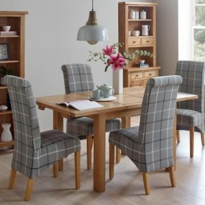 Edmonton Compact Dining Set - 1 Table with 4 Grey Tartan Dining Chairs