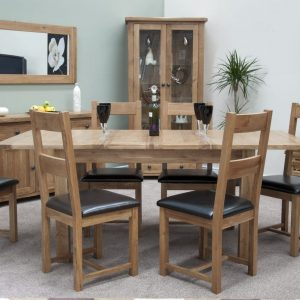 Rustic Oak Twin Leaf Dining Table Set