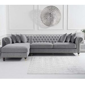 Fiona Grey Linen Left Facing Chaise Sofa