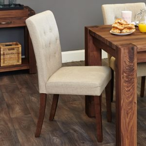 Shiro Walnut 2x Biscuit Flair-Backed Dining Chairs