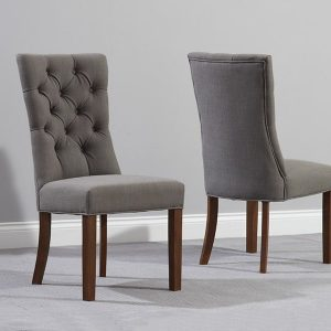 Albury Dark Wood Dining Chair (Pairs) - Grey