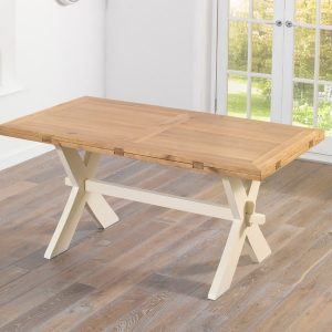 Avignon 165cm Oak & Cream All Sides Dining Table