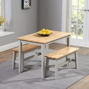 Chichester 115cm Oak And Grey Dining Set With 2 Benches