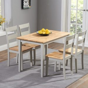 Chichester 115cm Oak & Grey Dining Set With 4 Chairs