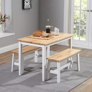 Chichester 115cm Oak And White Dining Set With 2 Benches