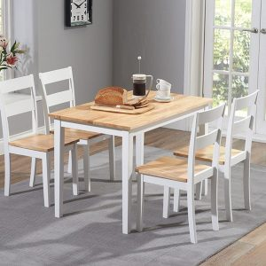 Chichester 115cm Oak & White Dining Set With 4 Chairs