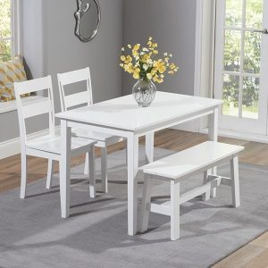 Chichester 115cm White Dining Set With 2 Chairs & Bench