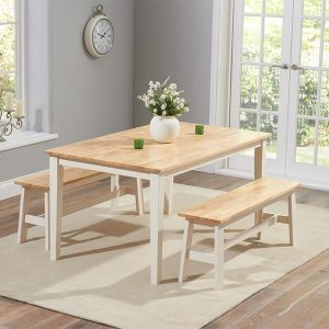 Chichester 150cm Oak & Cream Dining Table With 2 Large Benches