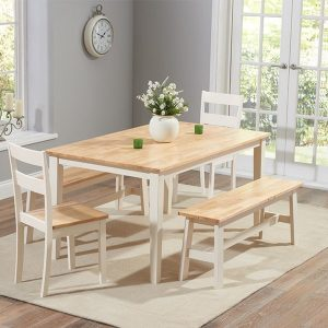 Chichester 150cm Oak & Cream Dt + 2 Chairs + 2 Large Benches