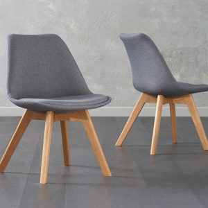 Dannii Dark Grey Fabric Chairs (Pair)