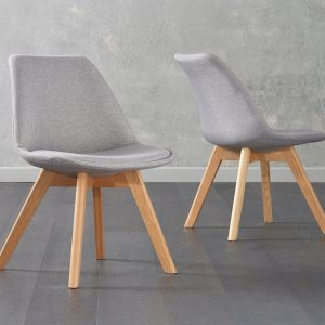 Dannii Light Grey Fabric Chairs (Pair)