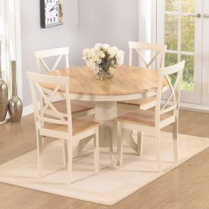 Elstree 120cm Oak And Cream Round Dining Table Set