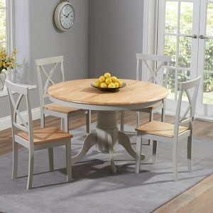 Elstree 120cm Painted Oak & Grey Round Dt + 4 Chairs