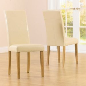 Alb Cream Faux Leather Dining Chair