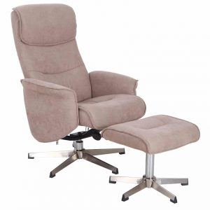 Rayna 1 Seater Recliner with Footstool - Sand