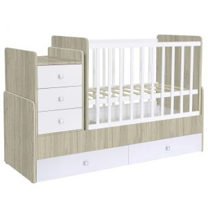 Convertible Cot bed 1100 with drawer unit - white-Elm