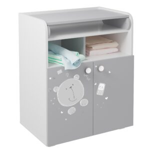 Kids Changing Cupboard - Teddy Print White-Grey