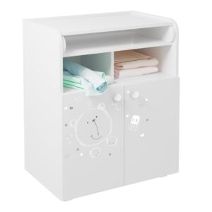 Kids Changing Cupboard - Teddy Print White