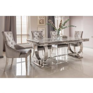 Arianna Grey Marble 180cm Dining Table & 4 Chairs