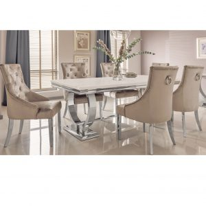 Arianna Cream Marble 180cm Dining Table & 4 Chairs