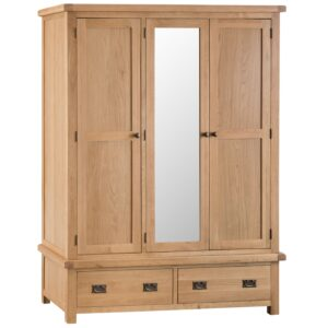 Carthorpe Oak 3 Door Wardrobe With Mirror