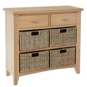Nunwick Oak Wicker Basket Sideboard