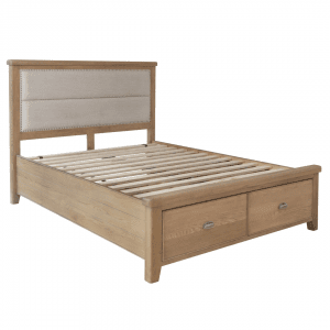 Ryedale Oak 6'0 Bed with Fabric Headboard and Drawers