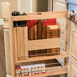 knife organizer and cutting board storage drawer
