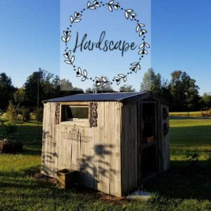 Cute Garden Shed with iron shutters, Hardscape in the Garden, Southern Gardening Gal