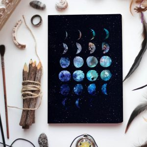 Lunar Cycle Journal, witchy journal, bullet journal, moon phase journal, moon cycle, moon diary, moon bullet journal, writing journal
