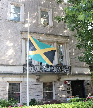 Jamaica's flag flies at half-mast outside the Embassy of Jamaica Washington, DC to honour the late former Prime Minister, Edward Seaga.