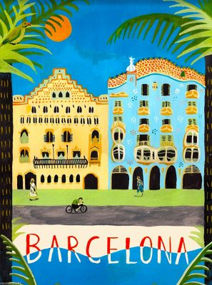 Barcelona Spain Spanish European Europe Vintage Travel Advertisement Art Poster