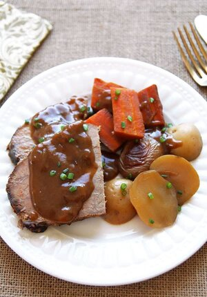 Plated Slow Cooker Pot Roast Eye of Round