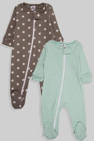 זוג אוברולים לתינוקות פלנל - כוכבים ונקודות - אפור וירוק (0-3 חודשים)