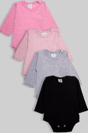 רביעיית בגדי גוף פלנל - חלק - ורוד אפור שחור (3-18 חודשים)