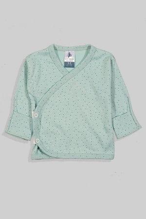 חולצת מעטפת עם כפפה פלנל - בסיס ירוק נקודות (0-3 חודשים)