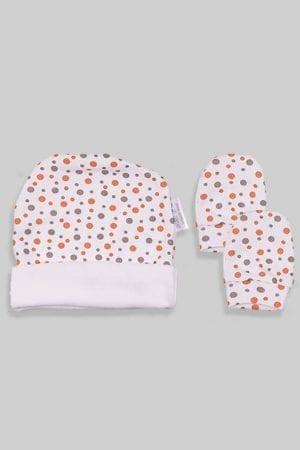 כפפות וכובע לתינוק - בסיס לבן נקודות