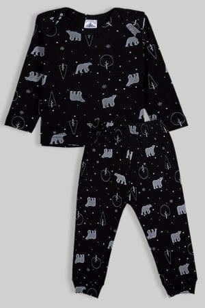 חליפת שינה שרוול ארוך פלנל - דובים - שחור (3 חודשים - 2.5 שנים)