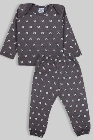 חליפת שינה שרוול ארוך פלנל - איקסים - אפור (3 חודשים - 2.5 שנים)