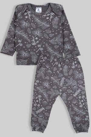 חליפת שינה שרוול ארוך פלנל - פרחים - אפור (3 חודשים - 2.5 שנים)