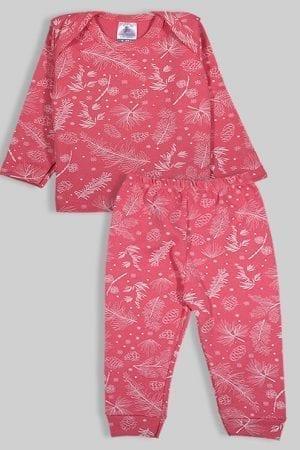 חליפת שינה שרוול ארוך פלנל - פרחים - ורוד (3 חודשים - 2.5 שנים)