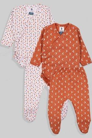 שני סטים בגדי גוף מעטפת ורגליות פלנל - משולשים נקודות - חום ולבן (0 - 3 חודשים)