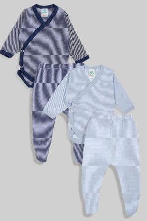 שני סטים בגדי גוף מעטפת ורגליות פלנל - פסים כחול ותכלת (0-3 חודשים)