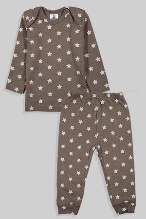 חליפת שינה שרוול ארוך פלנל - כוכבים - אפור (3 חודשים - 2.5 שנים)