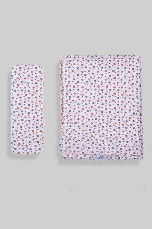 ציפה + סדין למיטת תינוק/מעבר - לבן נקודות