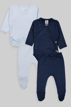 שני סטים בגדי גוף ורגליות לתינוק מעטפת טריקו - חלק נקודות - תכלת כחול (0-3 חודשים)