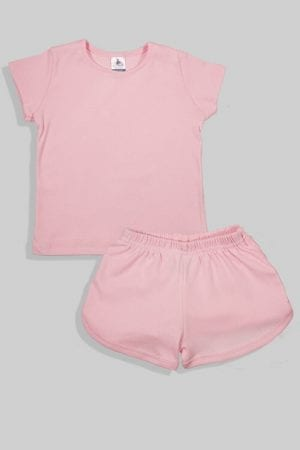 סט חליפת שינה קצר מכנס וחולצה - ורוד חלק (12 חודשים - 4 שנים)
