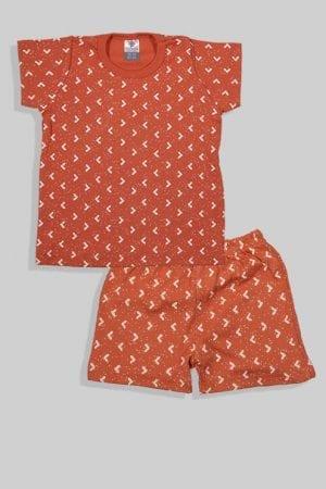 סט חליפת שינה קצר מכנס וחולצה - משולשים - חום (12 חודשים - 4 שנים)