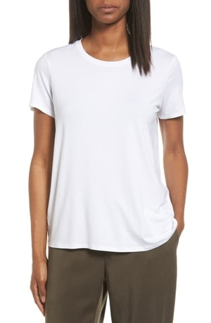 Best white t-shirts - Eileen Fisher short sleeve jersey tee | 40plusstyle.com