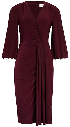 Wardrobe essentials - Eliza J wrap look dress | 40plusstyle.com